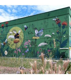 Óriás falfestménnyel, méhlegelőkkel a városi biodiverzitásért